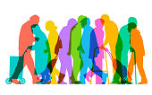 Overlapping silhouettes of elderly or old age people, raging population. Fully re-positionable elements