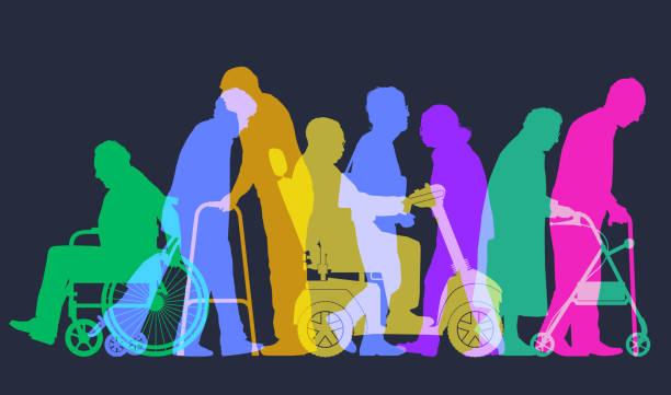 elderly people - проживание с уходом stock illustrations