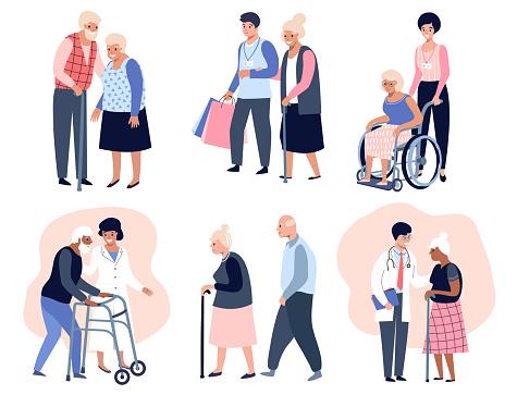 Elderly people walking,