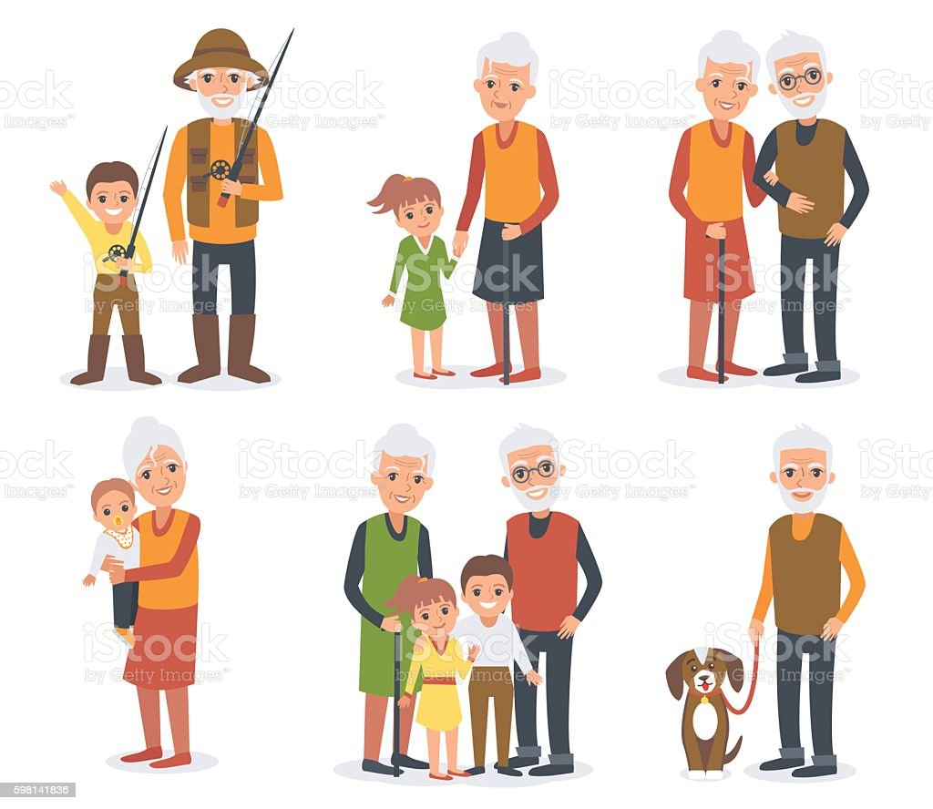 Elderly people with grandchildren - ilustración de arte vectorial