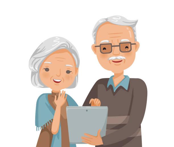 高齢者の読書 - 老夫婦点のイラスト素材/クリップアート素材/マンガ素材/アイコン素材