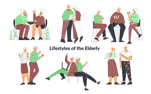 Elderly senior people lifestyle, couple playing games, friend having fun, family chatting on computer. Old lady and gentlemen. Set of senior citizen flat cartoon illustration
