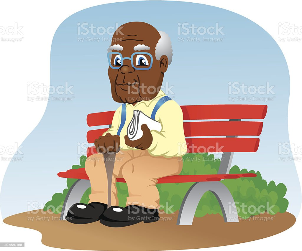 Elderly sitting on the park bench royalty-free stock vector art