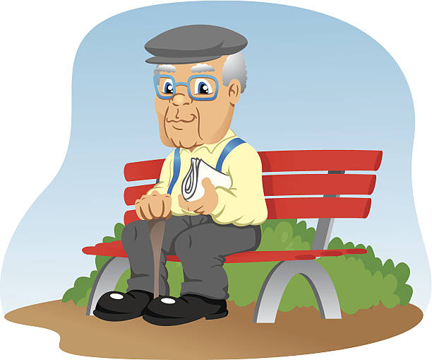 elderly sitting on the park bench - old man shoes stock illustrations, clip art, cartoons, & icons