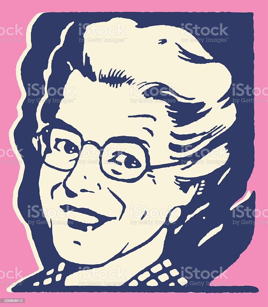 Mujer sonriendo de edad avanzada - ilustración de arte vectorial