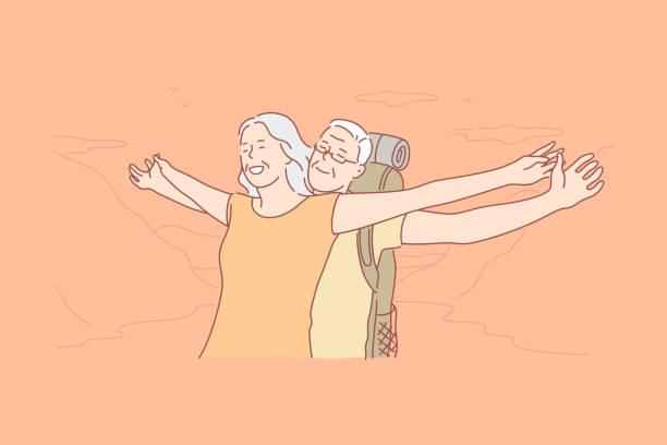 bildbanksillustrationer, clip art samt tecknat material och ikoner med äldre turister, åldrad människor utomhus concept - aktiva pensionärer utflykt