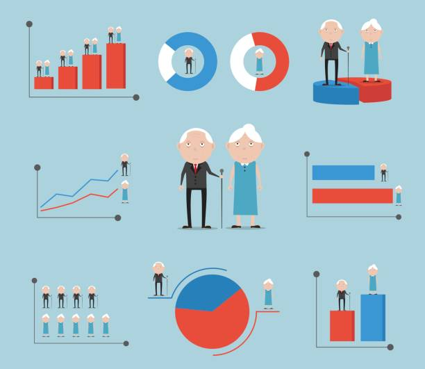 elderly with gender graph background - demographics infographics stock illustrations, clip art, cartoons, & icons