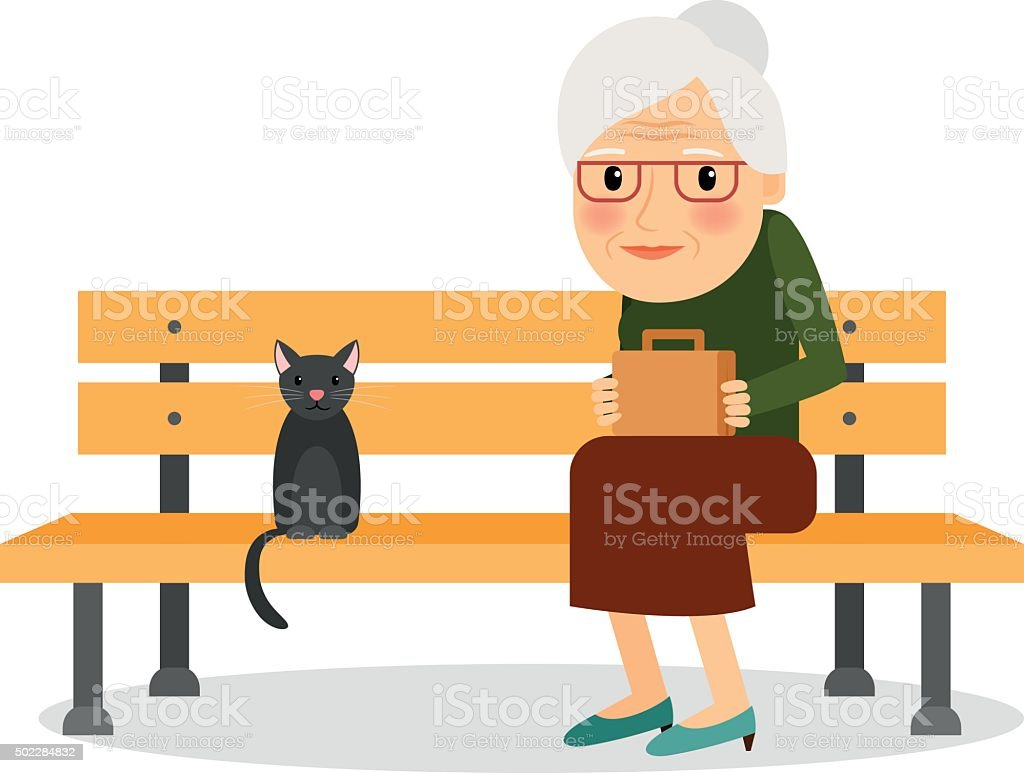 Elderly woman and cat sitting on park bench vector art illustration