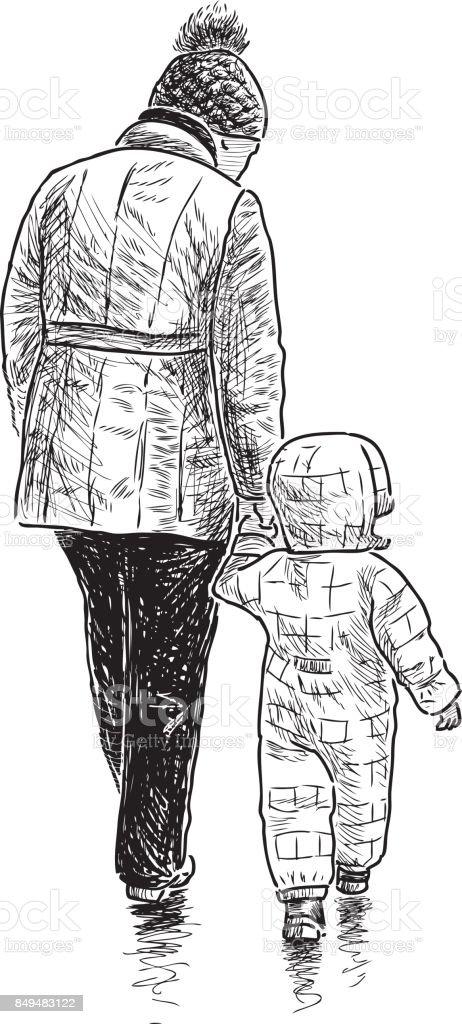 Elderly woman and her grandson go on a stroll vector art illustration