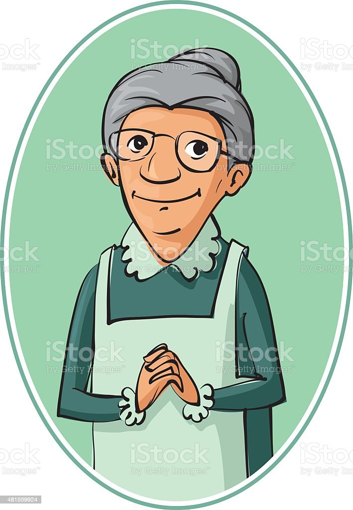 elderly woman characters vector art illustration