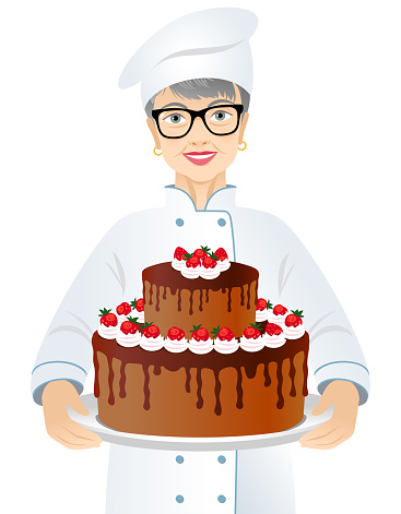Elderly woman chef with a big chocolate cake