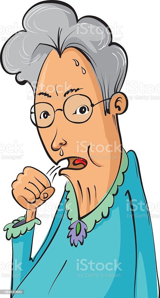 Elderly woman coughing vector art illustration