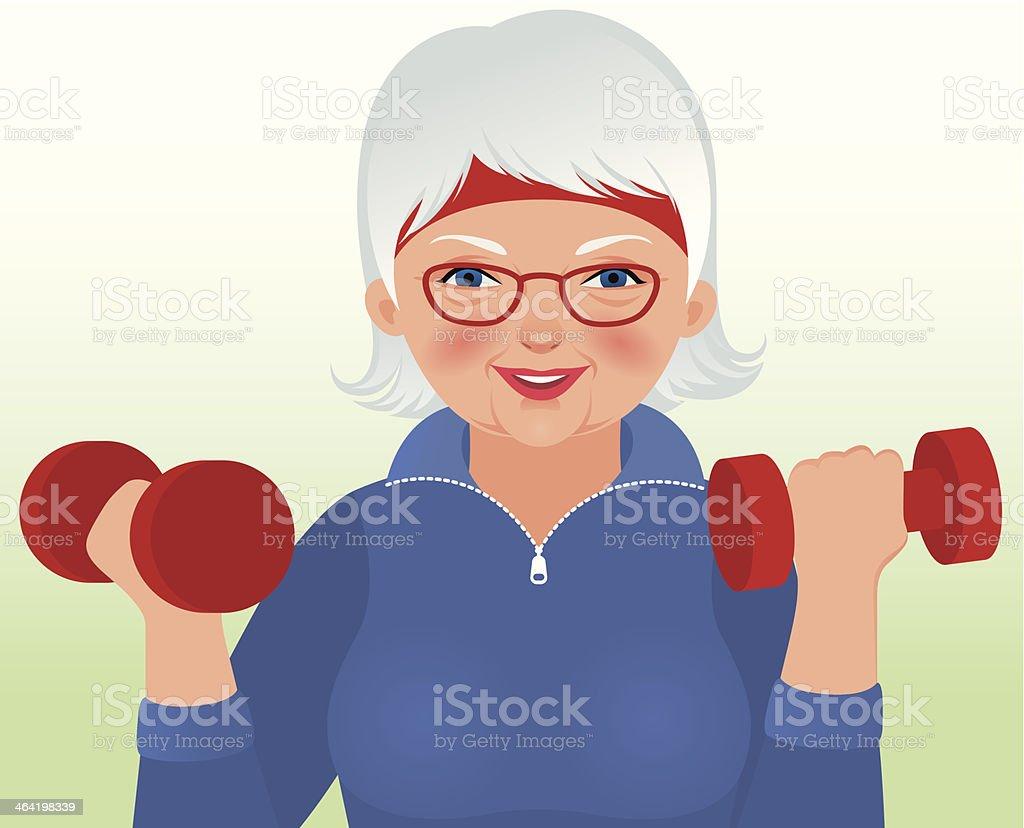 Elderly woman doing fitness royalty-free stock vector art