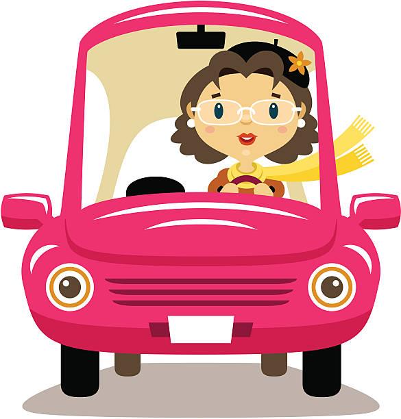 ilustrações, clipart, desenhos animados e ícones de mulher idosas motorista - carro mulher