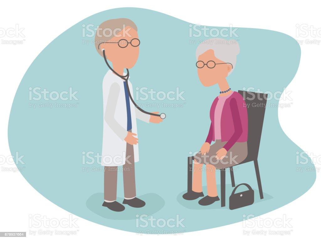Ältere Frau, die Gesundheitsuntersuchung vom Arzt mit Stethoskop – Vektorgrafik