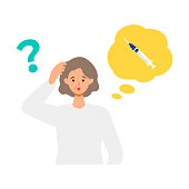 Elderly woman is thinking about vaccination. Concept for coronavirus vaccination. Vector flat illustration.
