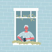Elderly woman is watering flowers on a windowsill. The old woman at the open window. View from the street side. Funky flat style. Vector illustration