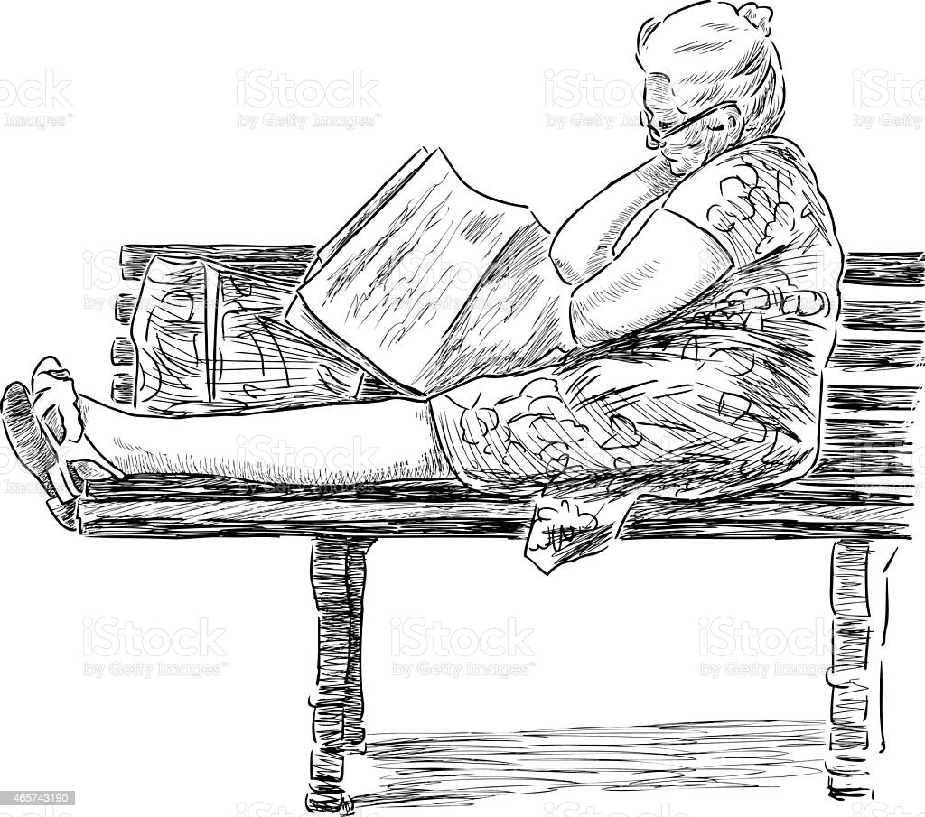 elderly woman on a  park bench