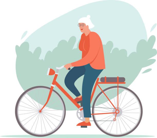 illustrazioni stock, clip art, cartoni animati e icone di tendenza di elderly woman riding a bike in the park. active retirement concept. - woman portrait forest