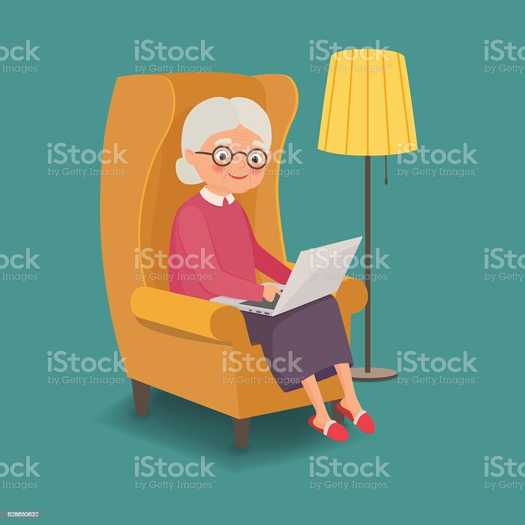Elderly woman sitting in a chair with a laptop - ilustración de arte vectorial