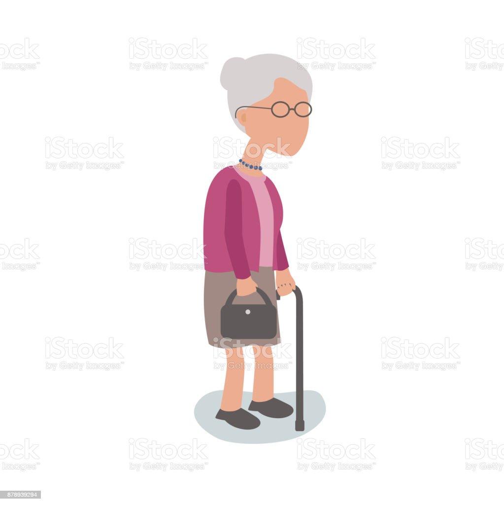 Ältere Frau mit Gehstock – Vektorgrafik
