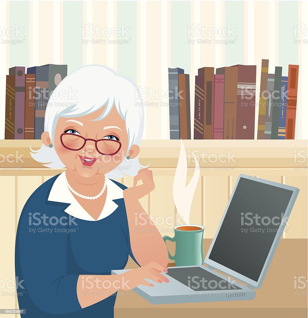 Elderly woman using a laptop vector art illustration