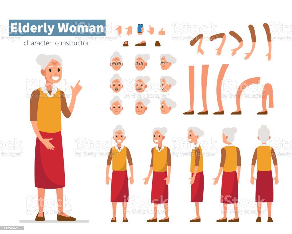 Mulher idosas - ilustração de arte em vetor