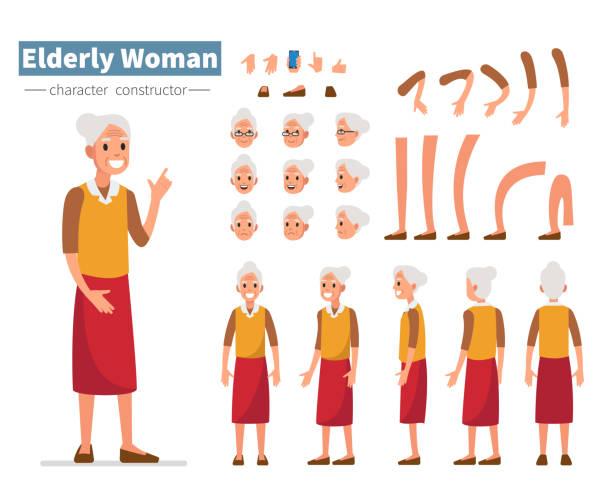 elderly woman - babka dziadek i babcia stock illustrations