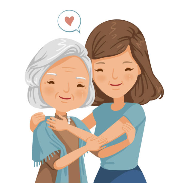 elderly woman with daughter elderly woman with daughter. Women are embracing older women.  affectionately. feeling happy of family relationship. retirement age. Elderly care concepts of motherhood. Vector illustration isolated daughter stock illustrations