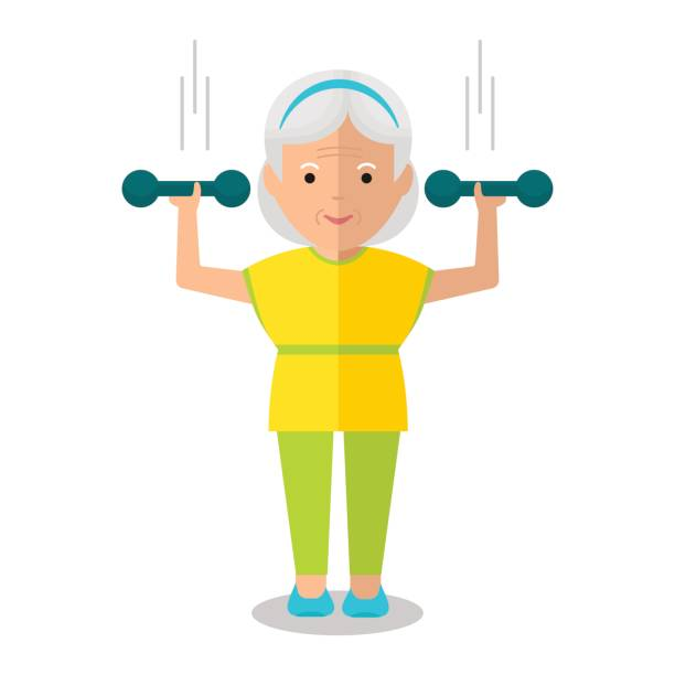 elderly woman with dumbbells - old man on bike stock illustrations, clip art, cartoons, & icons