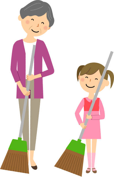 Elderly woman with girl sweeping vector art illustration