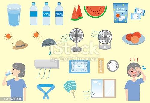 istock Elderly women and heat stroke countermeasure set 1251501603