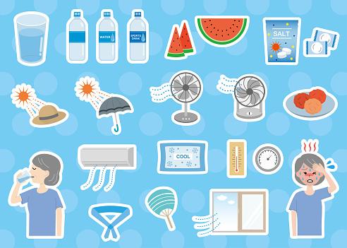 Elderly women and heat stroke countermeasure set