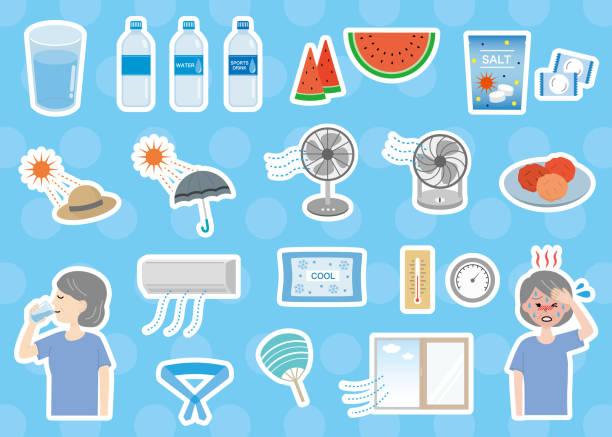 Elderly women and heat stroke countermeasure set Illustration set of measures against heat stroke and heat heat wave stock illustrations