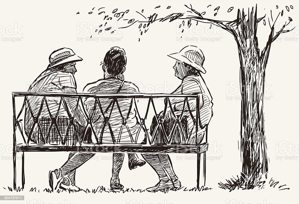 elderly women in a city park vector art illustration