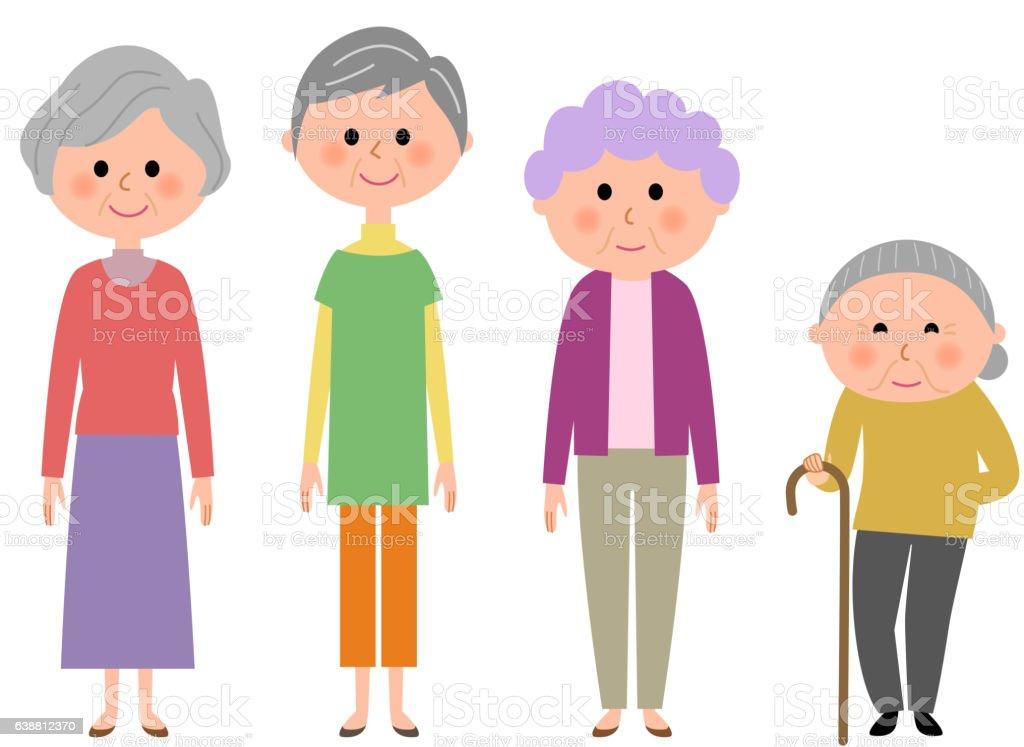 Elderly women vector art illustration