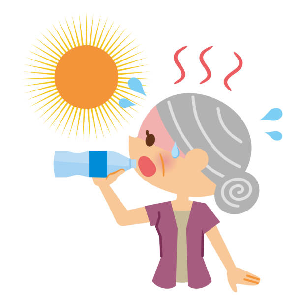 Elderly women who drink water to counter heatstroke. Elderly women who drink water to counter heatstroke. heat wave stock illustrations