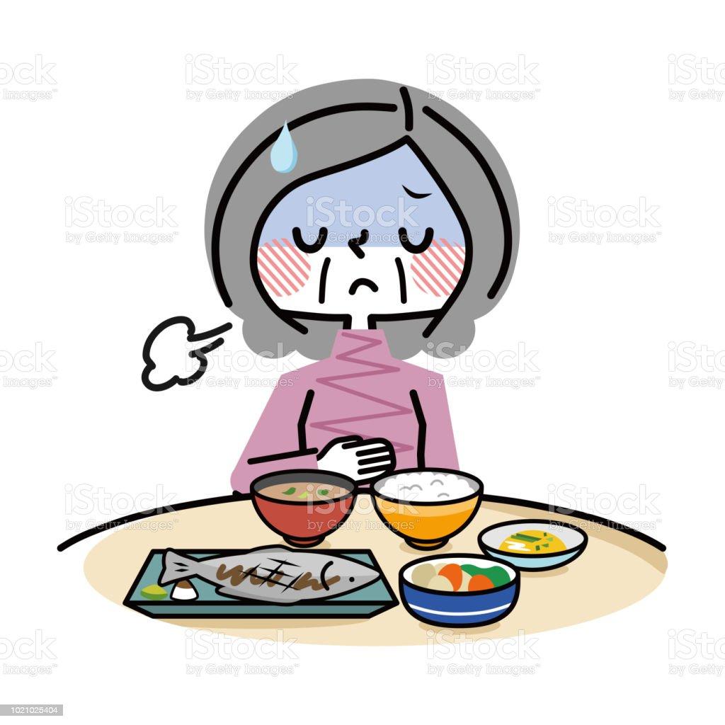 Elderly women without appetite. vector art illustration