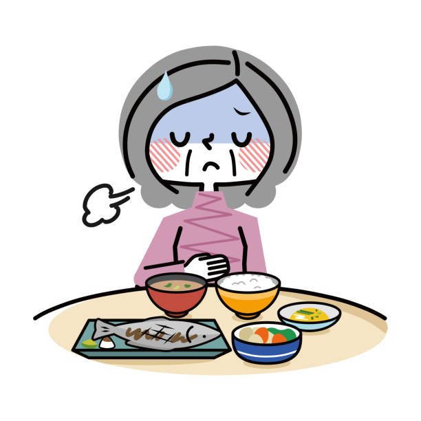 Elderly women without appetite. vector art illustration