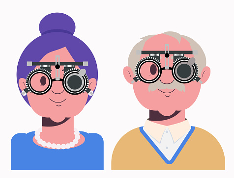 Elders vision checkup in ophthalmological clinic. Optometrist checking grandmother and grandfather eyesight with spectacles medical equipment. Glasses lens selection. Flat cartoon character illustration