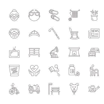 Eldery People Line Icon Set. Editable Stroke