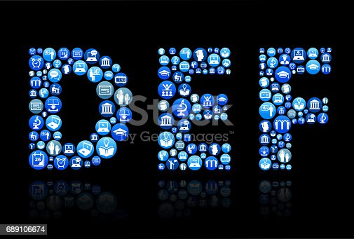 DEF E-learning and College Education Blue Button PatternOne E-learning and College Education Blue Button Pattern. The main image is composed with e-learning school and education buttons of various sizes and are blue in color. This vector icons are in white inside of each button and composition features such poplar educational graphics as students, college, university, e-learning, graduation cap and many more. Composition is ideal for educational conceptual illustrations. The background is black.