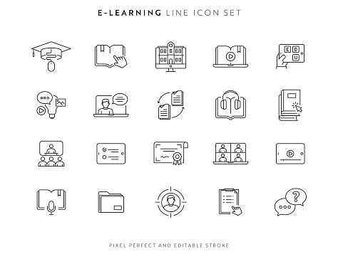 E-Learning and Courses Icon Set with Editable Stroke and Pixel Perfect.