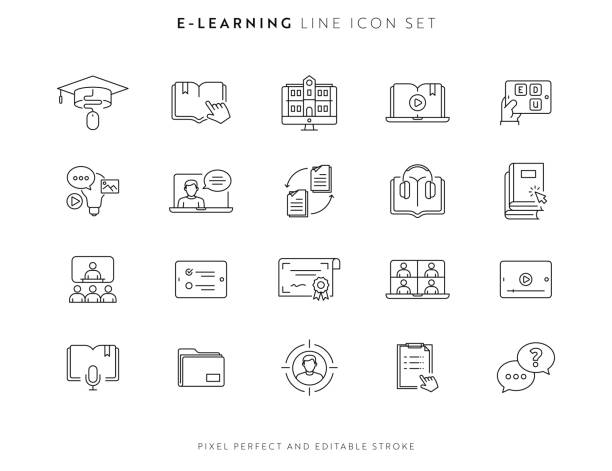 stockillustraties, clipart, cartoons en iconen met pictogramset e-learning en cursussen met bewerkbare slag en pixel perfect. - podcast