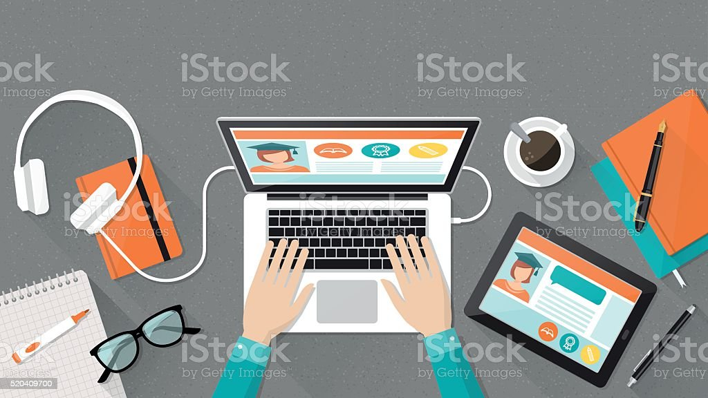 E-Educación y aprendizaje - ilustración de arte vectorial
