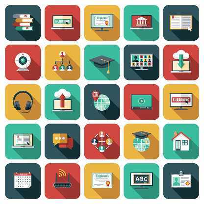 E-Learning and Online Education Icon Set