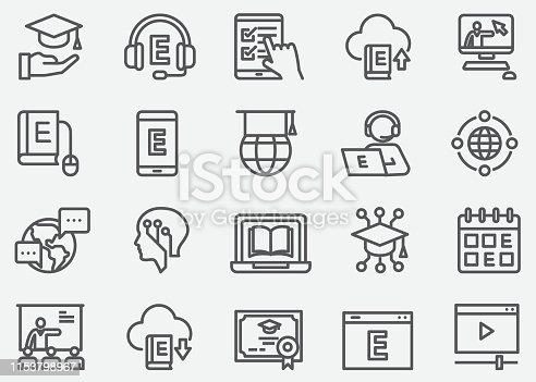 E-Learning and Online Education Line Icons