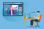 Teen student following an online education and e-learning course through his laptop computer with a online professional teacher. Flat design illustration.