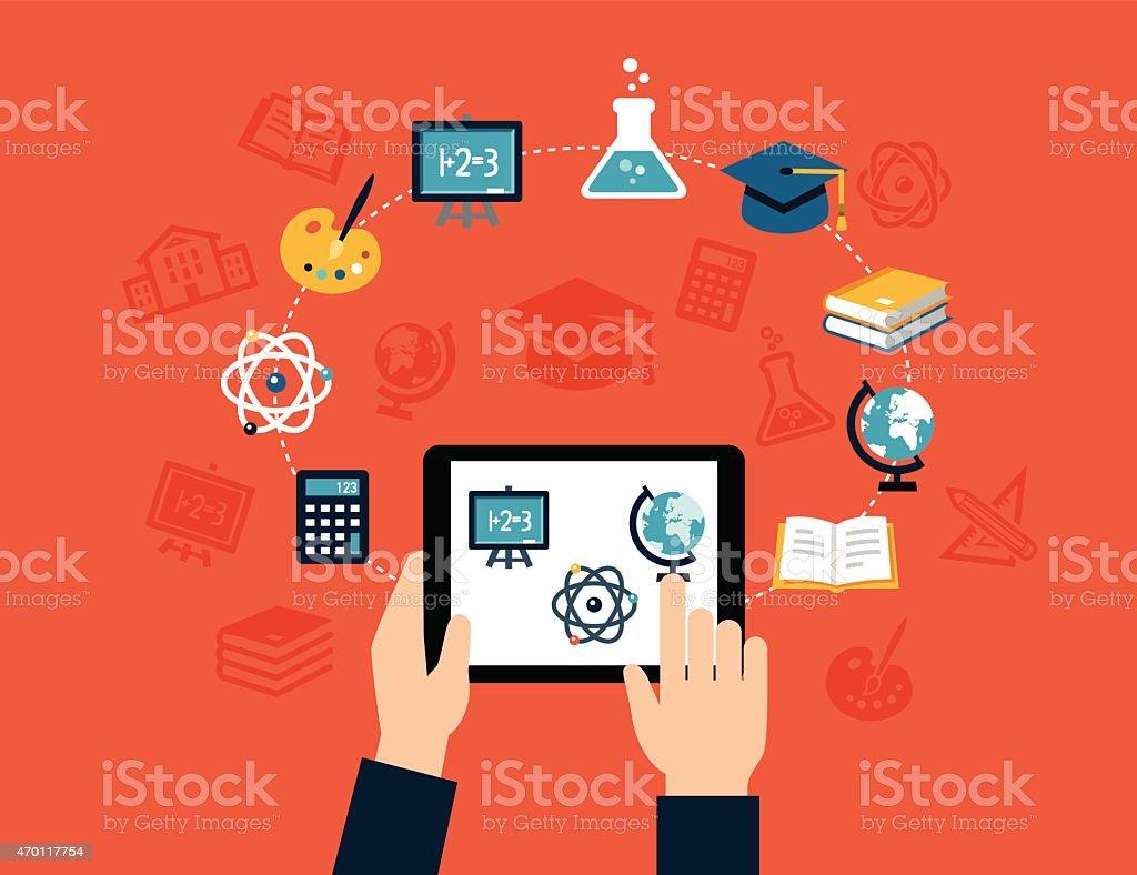 Fundo de E-learning - ilustração de arte em vetor