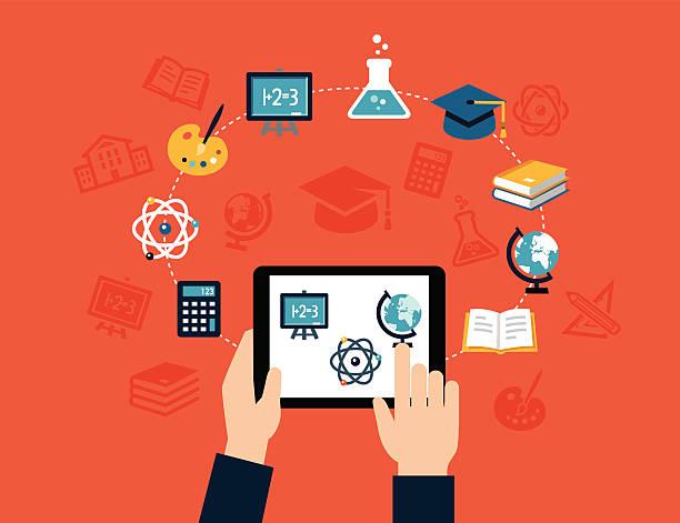 ilustrações, clipart, desenhos animados e ícones de fundo de e-learning - aula de ciências